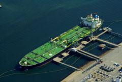 Tanker cargo vessel loading at port