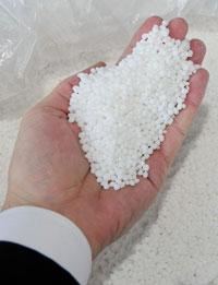 A handful of granular urea